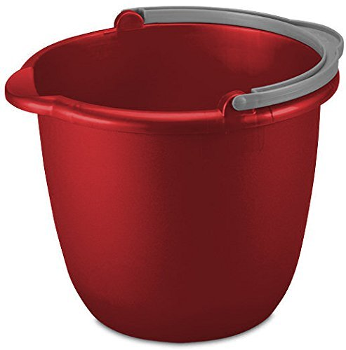 JOEY'Z 10QT (9.5L) RED Heavy Duty Sturdy Spout Pail Bucket with Durable Grip Handle for Cleaning, Mopping, Projects, Storage, Paint