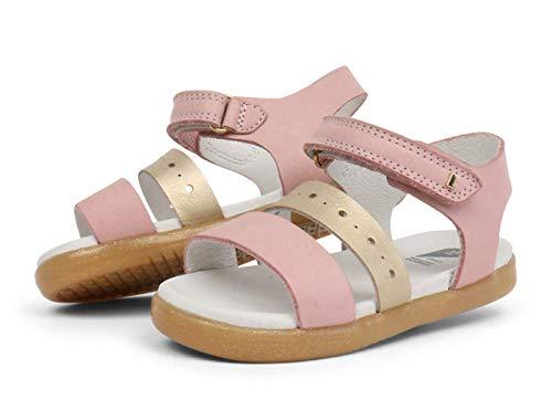 Bobux IW Trinity Sandal - Una Sandalia de Piel, Suela Flexible, Cierre Velcro. Cómoda, fresquita. Divertida y desenfadada para Caminar, Saltar y trepar Todo el Verano (Blush + Misty Gold, Numeric_23)