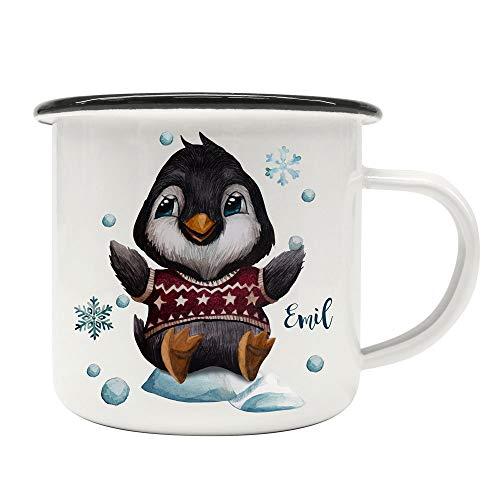 ilka parey wandtattoo-welt Emaille Becher Camping Tasse Winter Pinguin Schneeflocken & Name Wunschname Kaffeetasse Weihnachten Geschenk Weihnachtsmotiv eb479