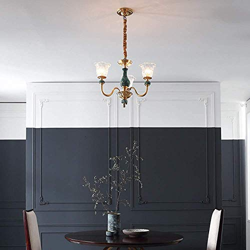 SKSNB Candelabro Retro, candelabro Regulable, lámpara de Cobre, diseño de Porcelana con Pantalla de Vidrio, Adecuado para Sala de Estar y Mesa de Comedor del Dormitorio [Grade A Energy]