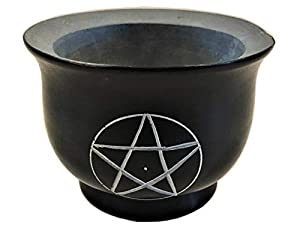 "NAI Soapstone Incense Burner Bowl/Smudge Pot/Wicca Ritual Offering Bowl W/Pentacle 4"" W x 3 H SBR36P"