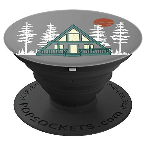 A Frame Cabin Woods Nature Sunset Outdoors Vintage Retro PopSockets Grip and Stand for Phones and Tablets