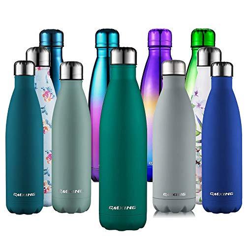 cmxing Doppelwandige Thermosflasche 500 mL / 750 mL mit Tasche BPA-Frei Edelstahl Trinkflasche Vakuum Isolierflasche (Armee-Grün, 750 mL)