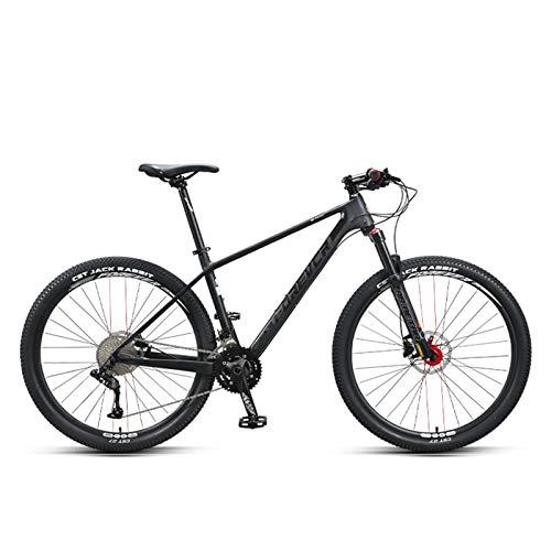 JKCKHA Bicicleta De Montaña De Fibra De Carbono, Cuadro Integrado De Fibra De Carbono, MTB 27.5'Bicicleta De Montaña De Cola Dura Completa 33 Velocidades con Conjunto De Grupo A5011,Negro