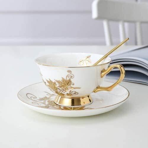 HLR Coffee Cup Tea Cup and Saucer Set Mug an Ceramic Tea Cup Set Royal White Coffee Cup Saucer Set Vintage Wedding Kitchen Supplies