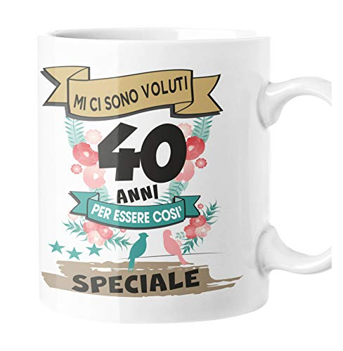 fashwork Tazza Compleanno 40 Anni Regalo Divertente Originale Uomo Donna