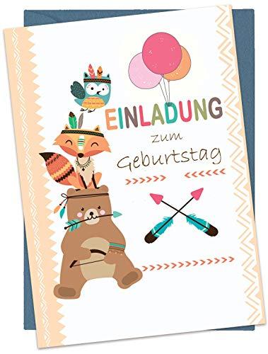 the lazy panda card company Set: 15 Einladungskarten Kindergeburtstag: Tiere Geburtstagseinladungen Einladungen Geburtstag Kinder Mädchen (15 Karten mit 15 passenden Umschlägen Briefumschlägen)