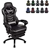 ELECWISH Racing Video Gaming Chair High Back Large Size Ergonomic Adjustable Swivel Reclining Executive Computer Chair with Headrest and Lumbar Support PU Leather Executive Office Chair Grey