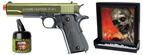 Zombie Hunter Target Pack 6mm Airsoft Pistol and Accessories, Black and Green
