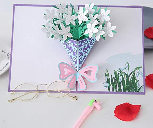 Tarjeta de San Valentín para novio/marido/novia/esposa/regalo de San Valentín para ella, tarjeta de regalo para ella, tarjetas de cumpleaños, tarjeta de felicitación 3D con flores frescas (20 x 30 cm)
