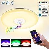 Deckenleuchte mit Bluetooth Lautsprecher WLAN Fernbedienung Sprachsteuerung Wohnzimmer Deckenleuchte 36W LED RGB Rhythmus mit Musik Synchronisieren Schlafzimmer Deckenlampe dimmbar