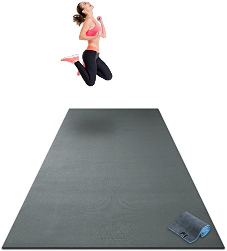 Premium Extra Large Exercise Mat - 10' x 4' x 1/4' Ultra Durable, Non-Slip, Workout Mats for Home Gym Flooring - Plyo, MMA, Cardio Mat - Use with or Without Shoes (120' Long x 48' Wide x 6mm Thick)