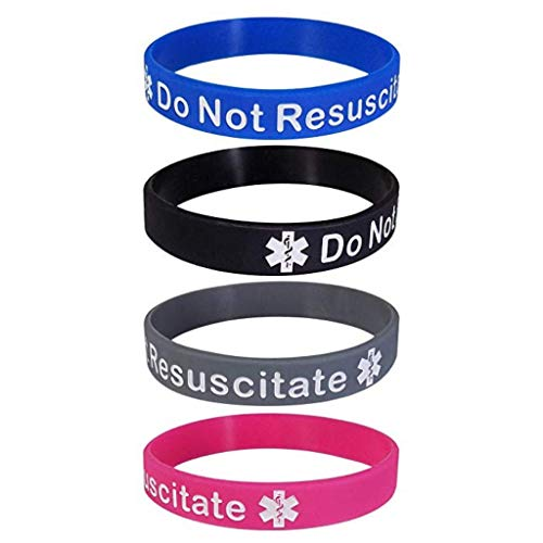 Pack of 4 Do Not Resuscitate DNR Bracelet Silicone Wristband Medical Alert (Gift Box Goodies) UK Seller