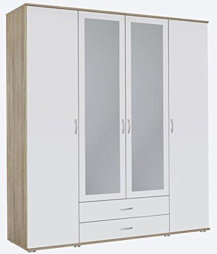 Kleiderschrank Eiche Sonoma braun weiß 4 Türen B 168 cm Kinderzimmer Jugendzimmer Schlafzimmer Wäscheschrank Drehtüren Spiegel Schrank