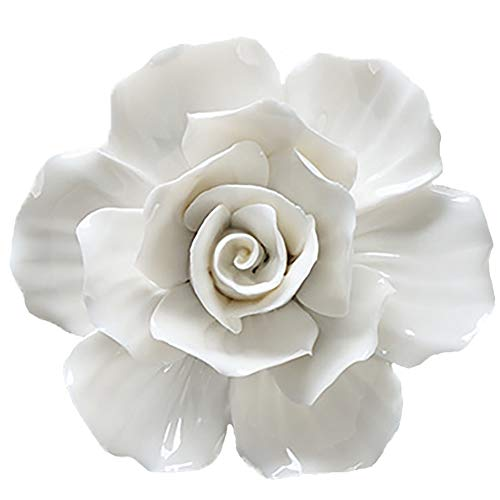 ALYCASO Wall Decoration for Living Room, Bedroom Wall Hanging 3 d Wall Art Ceramic Flower Pediments, its White, 5.5 inch