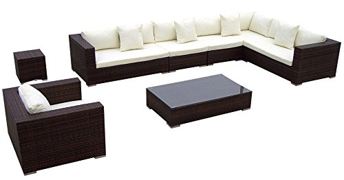 Baidani Gartenmöbel-Sets 10c00009.00002 Designer Lounge-Garnitur Blizzard, XXL-Sofa, Sessel, Beistell-Tisch, Couch-Tisch mit Glasplatte, braun