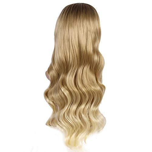 Pelucas SWNN El oro europeo y americano de la peluca Señora de pelo largo y rizado pelo pendiente de Brown Rose Red Señora Cubierta de la cabeza de la muchacha de 28 pulgadas