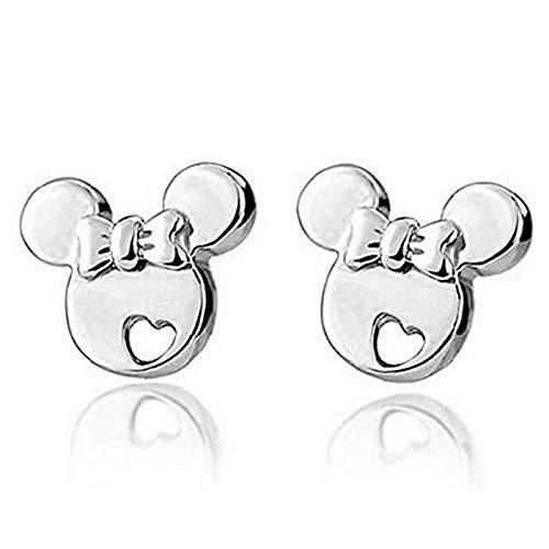 1 par de pendientes de plata de ley para estudiantes de princesa Mickey Mouse niña hipoalergénicos para niños de dibujos animados