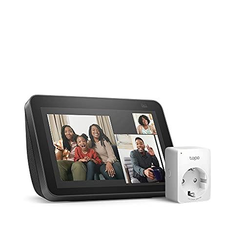 Nuevo Echo Show 8 (2.ª generación, modelo de 2021), Antracita + TP-Link Tapo P100 Smart Plug (enchufe inteligente WiFi), compatible con Alexa