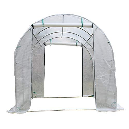 ZXXL Invernaderos Caminar en Invernadero de Plástico PE con Puerta Enrollable con Cremallera/Marco de Metal, Casa Verde Resistente Blanca para el Patio Trasero de la Terraza del Jardín