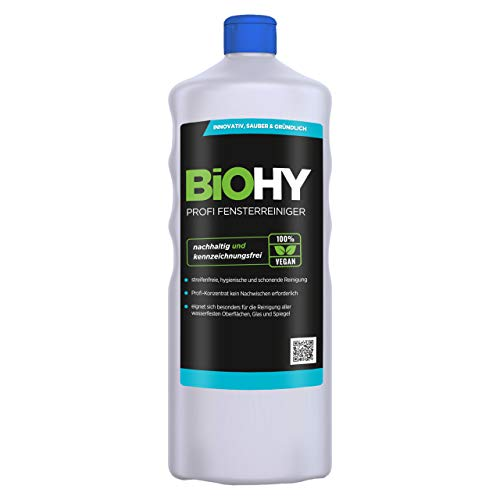BIOHY Profi Fensterreiniger 1 Liter Flasche | Glasreiniger Konzentrat, ideal für Fenstersauger | Streifenfreie Reinigung von Glas-, Fenster-& Spiegelflächen |