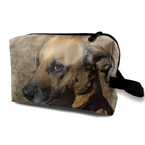 Bolsa de cosméticos para perros de abrigo corto marrón y blanco, bolsas...