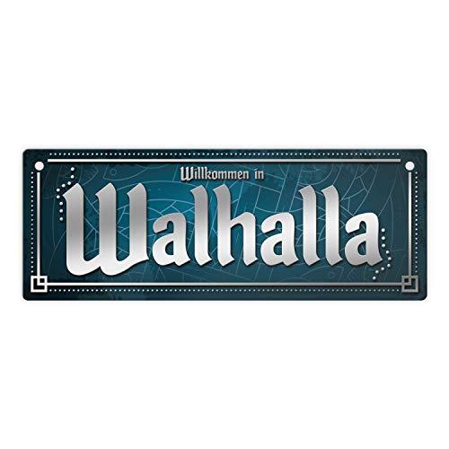 trendaffe - Wikinger Metallschild im nordischen Stil mit Spruch: Willkommen in Walhalla