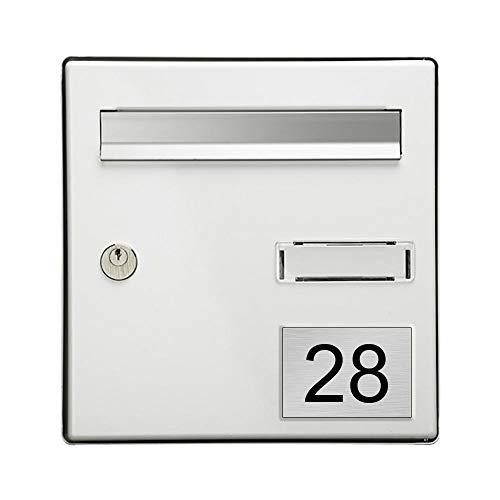 Numéro pour boite aux lettres personnalisable rectangle grand format (100x70mm) gris argent chiffres noirs