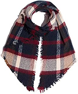 VIOAPLEM VIOAPLEM Gift Autumn and Winter Circle Sand Bevel Plaid Scarf Ladies Thick Check Scarf Fashion Keep Warm Shawl