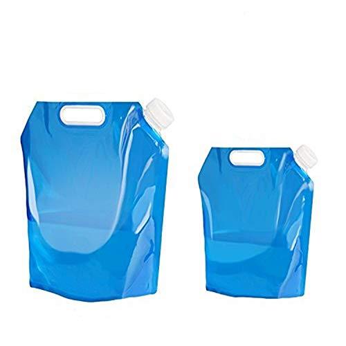 LaMei Yang 2 Stücke Faltbare Wasserbehälter Flasche Portable Storage Outdoor Falttasche für Sport Wandern Camping Reiten Mountaineer Bpa Freies Kunststoff Blau