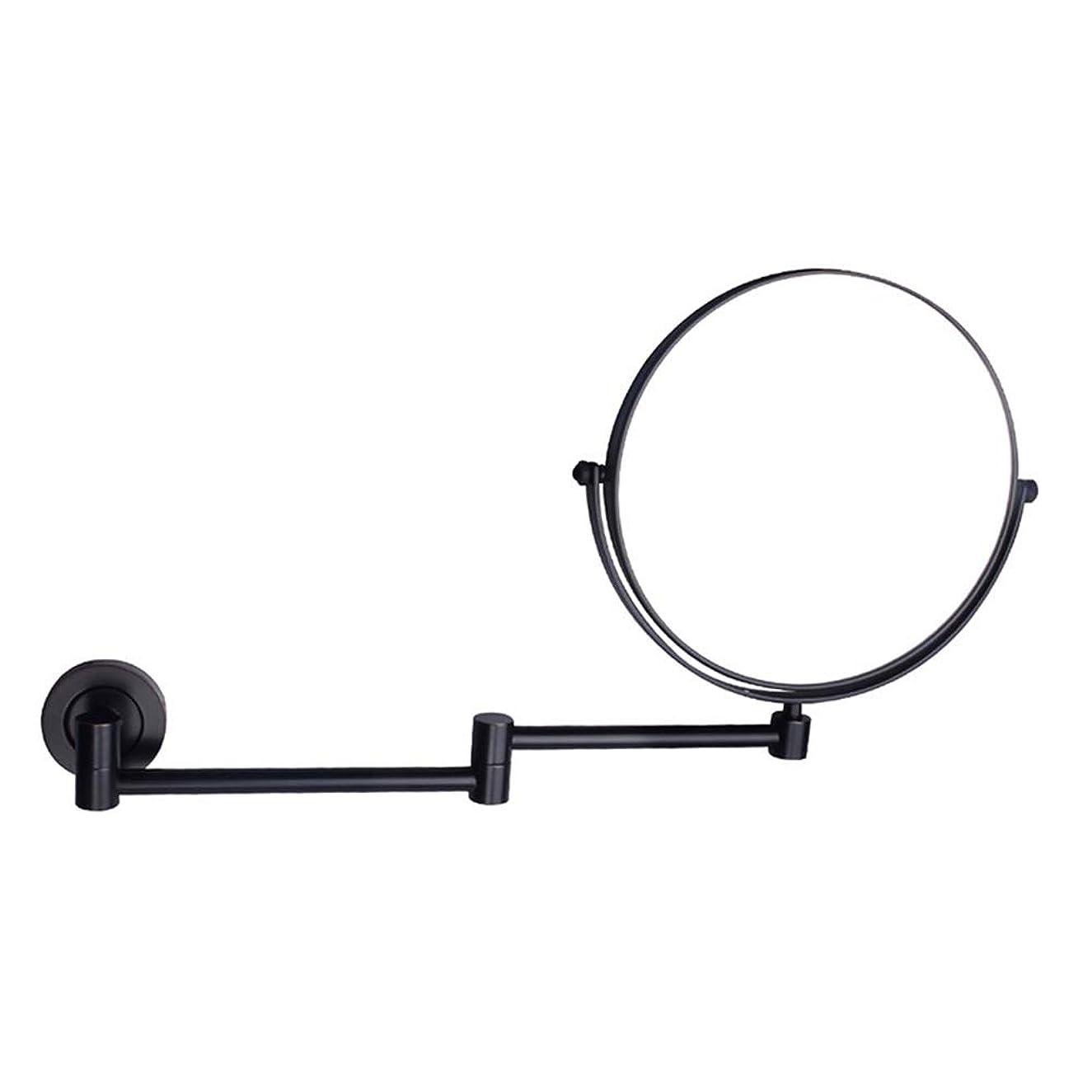 意味何十人もナット化粧鏡バスルーム 8インチ化粧鏡格納式銅折りたたみ浴室壁掛け美容鏡5倍虫眼鏡360度回転虚栄心ミラー 照明付きメイクアップミラー (色 : ブラック, サイズ さいず : 8 inches 5X)