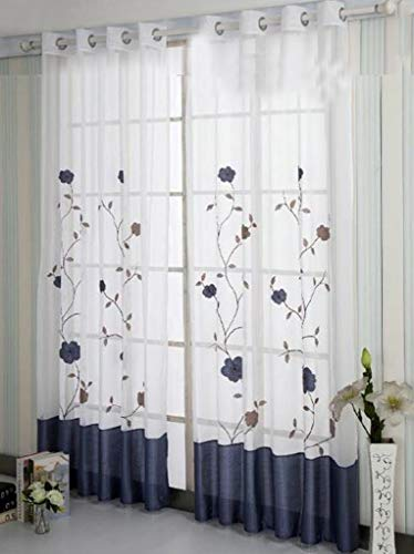SIMPVALE 1 Pieza Cortinas Visillos Bordado Floral para Balcon, Salón, Habitación, Dormitorio y Cámara, Anchura 140 cm, Azúl, Altura 245cm