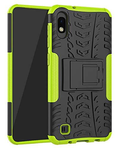 Yiakeng Hülle Samsung Galaxy A10, Doppelschicht Stoßfest Schlank Ganzkörperschutz Mit Ständer für Samsung Galaxy A10 (Grün)