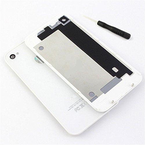 GSHENG di Alta qualità Lucido,Copri Batteria Vetro di Ricambio Colore Bianco Back Cover di Design per Apple iPhone 4S+ GIRAVITE in Bulk Pack Bianco