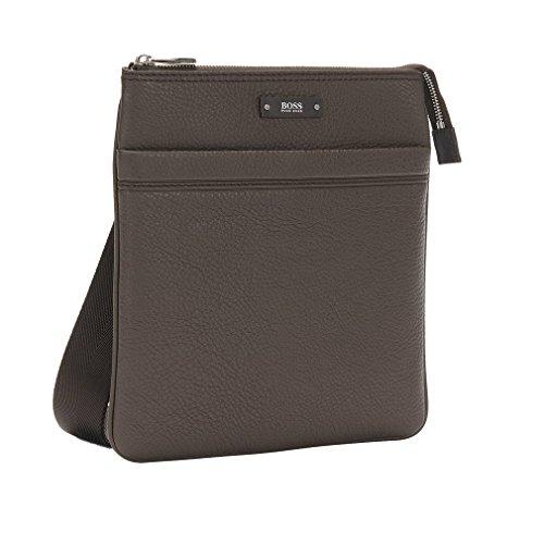 HUGO BOSS Herren Umhängetasche Schultertasche Leder Tasche (Braun)