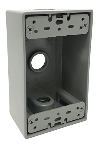 Sealproof 1-Gang 3 1/2-Inch Holes Weatherproof Rectangular Exterior Electrical Outlet Box with 3 Outlet Holes, Three 1/2