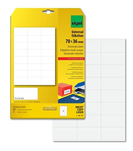 SIGEL LA131 Universal-Etiketten weiß, 70 x 36 mm, 600 Etiketten = 25 Blatt