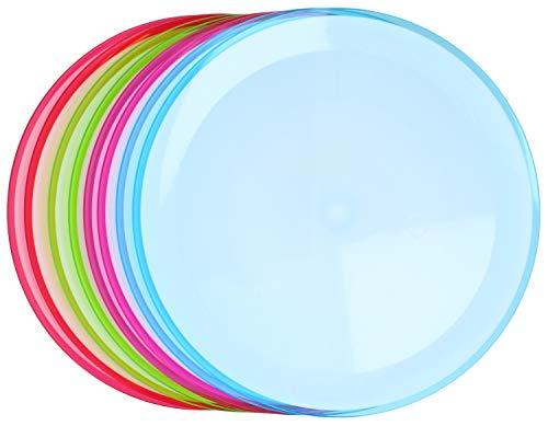com-four® 8X Teller für Zuhause und als Picknick-Zubehör in bunten Farben - Campinggeschirr - Reisegeschirr (Ø22.5cm bunt - 08 Stück)