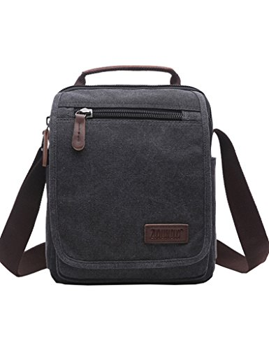 Mygreen Unisex Black Small Canvas Vertical Shoulder Messenger Bag Crossbody Business Leather Bag Satchel for Kindle
