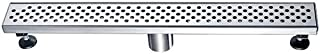 DAWN Shower Drain with Hair and Debris Strainer 24-Inch Linear Shower Floor Drain 304 Stainless Steel, Shower Drain Hook Included