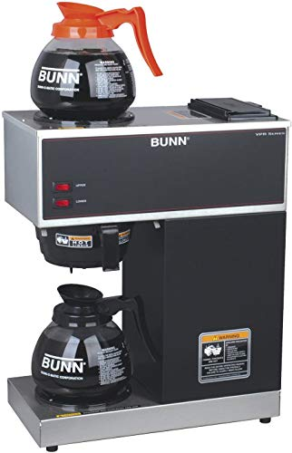 BUNN 33200.0015 VPR-2GD 12-Cup Pourover Commercial Coffee Brewer with Upper and Lower Warmers and Two Glass Decanters, Black (Four Pack)