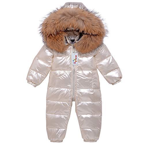 Baby Schneeanzüge Winter Overall Mit Kapuze Daunen-Skianzug Strampler Mädchen Jungen Winter Outfits, Beige 9-12 Monate