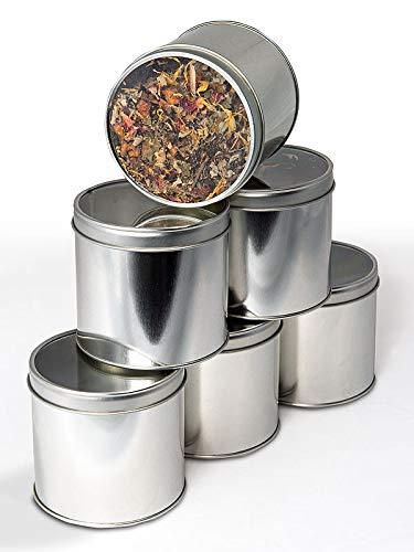 Teeverliebt Tee-Dosen-Set Silber I 6 praktische Vorrats-Dosen zur Tee-Aufbewahrung I mit Sicht-Deckel für ca. 100 g Loser Tee I als Tee-Behälter & Gewürz-Dose nutzbar I Tee-Box offener Tee 6 Stück