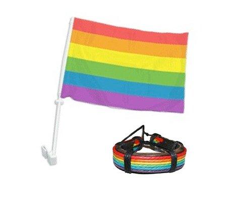 Car Window Automobile Rainbow Pride Flag and Leather Bracelet Set - LGBT Gay & Lesbian - 12 x 15 inch Gay Flag (Gay Car Flag & Rainbow Leather Bracelet)