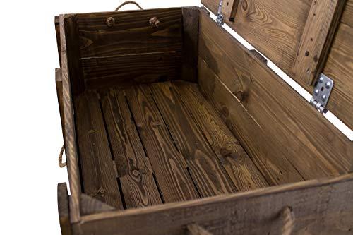 Moooble 1x Holztruhe mit Deckel + 2 Schubladen | 85,5x42x43,5 cm | stabile Spielzeugtruhe Holz als 'Schatzkiste' mit viel Platz | zum sitzen - 3