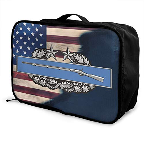 Army Combat Infantry Badge 3rd Award Travel Lightweight Waterproof Foldable Storage Carry Luggage Duffle Tote Bag