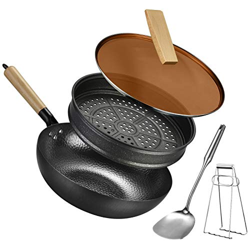 Carbon steel wok pan flat bottom pan with lid for gas stoves induction and electric (12.5 inch wok,lid,steam rack,spatulas,anti-scalding clip included)