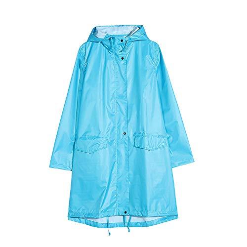 Waterdichte vrouwen regenjas, buitenlampje dunne ademend regenjasje poncho met ritsige windjack met hooded voor kamperen wandelen fietsen, blauw, xxl Mengheyuan (Color : Blue, Size : XLarge)