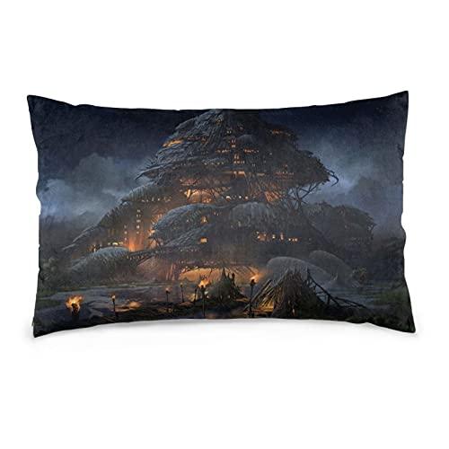 Fantasy Big House - Funda de almohada decorativa de 40,6 x 60,9 cm, funda de cojín para decoración del hogar