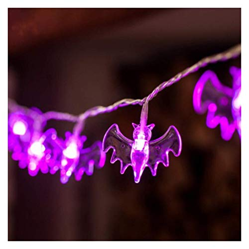 Bhuatk 10/20 LED Halloween Pumpkin Spider Bat Skull String Light Lamp Home Garden Party Outdoor Halloween Decoration Lantern Light (Emitting Color : Purple Bat lights, Wattage : 1.5m 10leds)